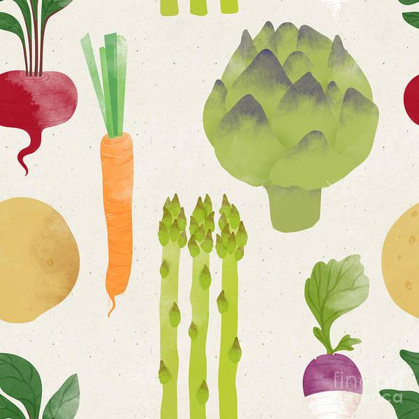 Medicine Digital Art - Cute Seamless Vegetable Pattern On by Irtsya