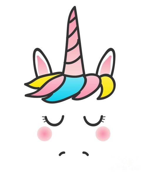 Digital Art - Cute Unicorn Face by Flippin Sweet Gear