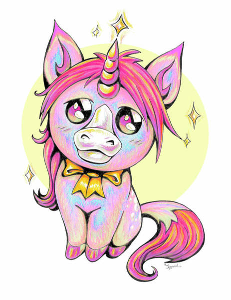 Primary Colors Drawing - Cute Unicorn II by Sipporah Art and Illustration