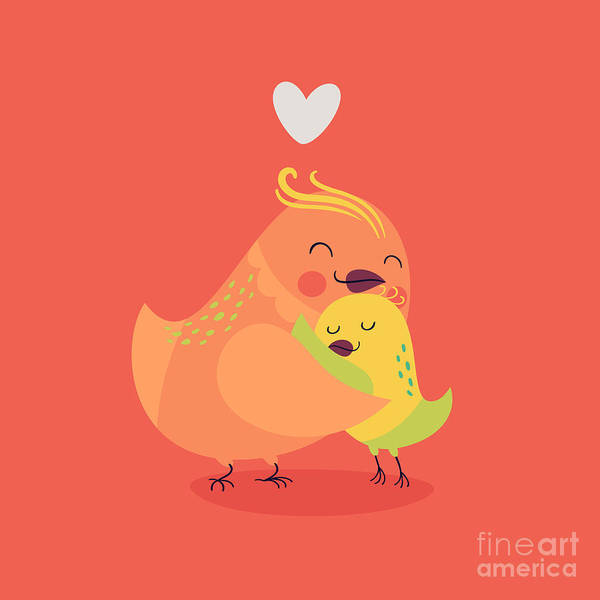 Wall Art - Digital Art - Cute Vector Cartoon Decorative Birds by Mascha Tace