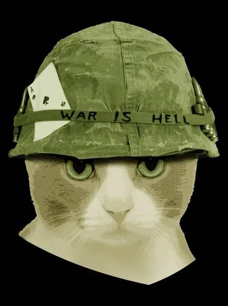 Wall Art - Digital Art - Cute War Is Hell Army Cat by Filip Hellman
