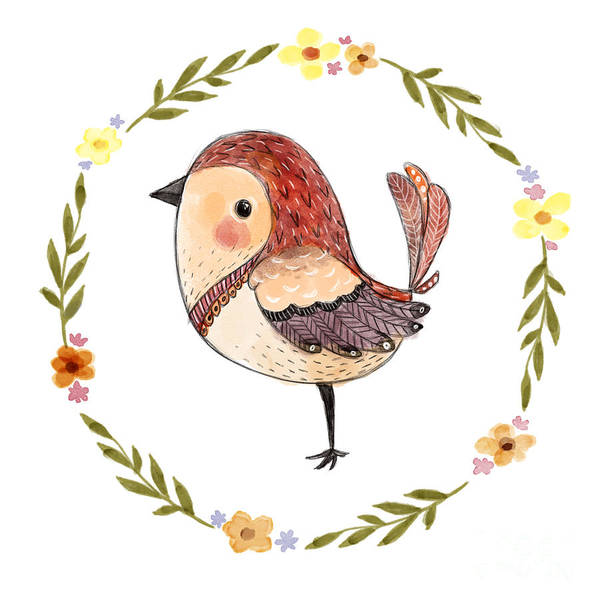 Cute Watercolor Bird With Floral Art Print