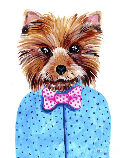 Wall Art - Digital Art - Cute Watercolor Yorkshire Terrier by Maria Sem