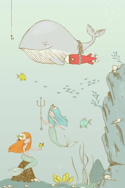 Painting - Cute Whale And Mermaids Whimsical Art For Kids by Matthias Hauser