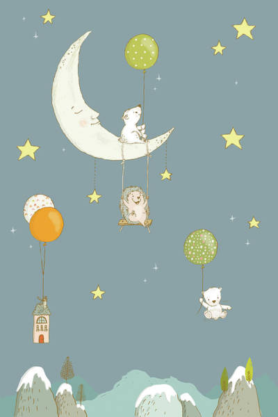 Painting - Cute Whimsical Animals And Night Sky by Matthias Hauser