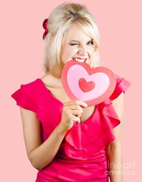 Wall Art - Photograph - Cute Woman Biting Big Red Love Heart by Jorgo Photography - Wall Art Gallery