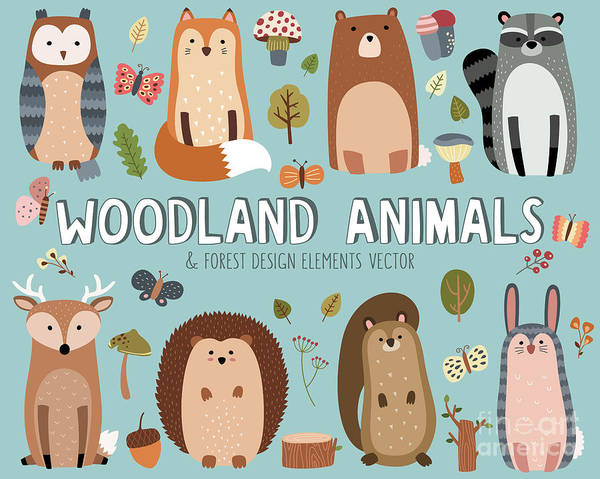 Wall Art - Digital Art - Cute Woodland Animals And Forest Design by Mckenna71