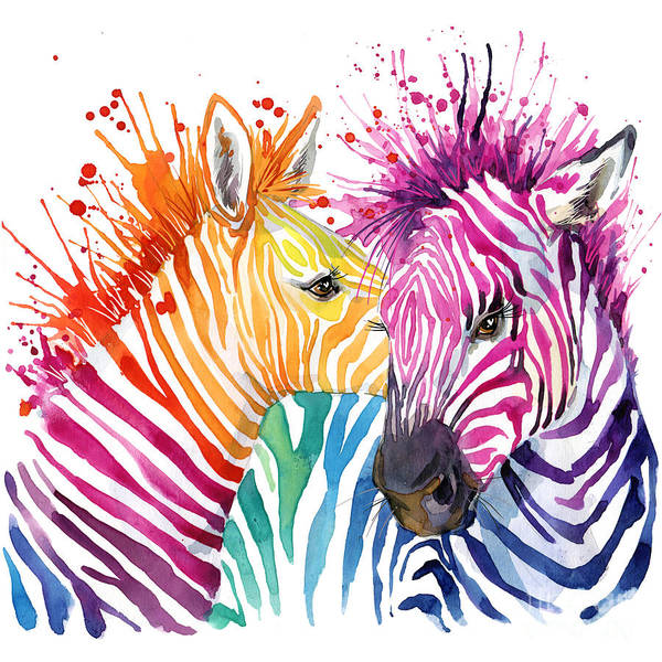 Wall Art - Digital Art - Cute Zebra. Watercolor Illustration by Faenkova Elena
