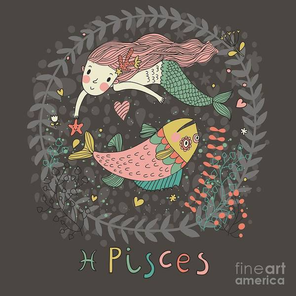 Wall Art - Digital Art - Cute Zodiac Sign - Pisces. Vector by Smilewithjul