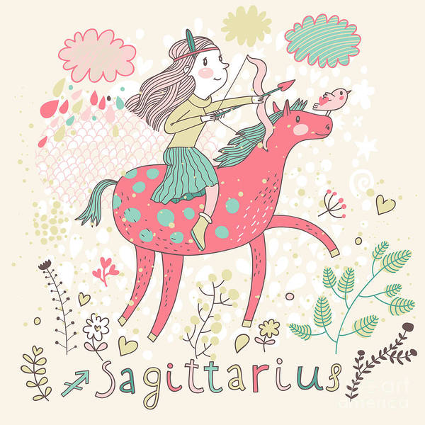 Wall Art - Digital Art - Cute Zodiac Sign - Sagittarius. Vector by Smilewithjul