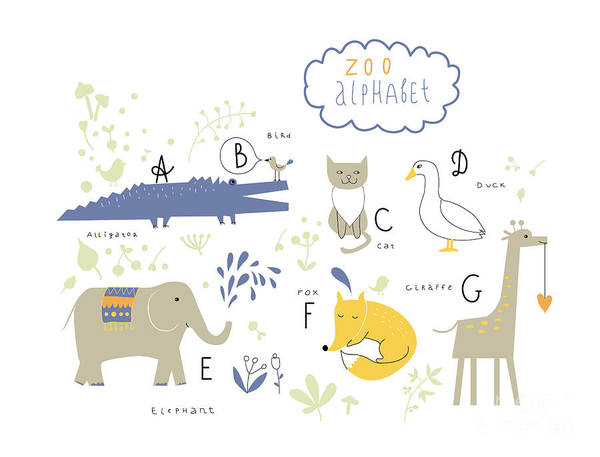 Wall Art - Digital Art - Cute Zoo Alphabet In Vector . A, B, C by Lera Efremova
