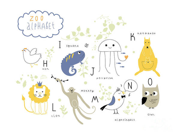Wall Art - Digital Art - Cute Zoo Alphabet In Vector .  H, I, J by Lera Efremova