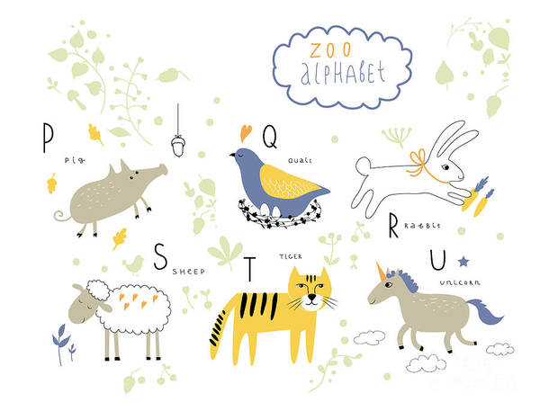 Wall Art - Digital Art - Cute Zoo Alphabet In Vector . P, Q, R by Lera Efremova