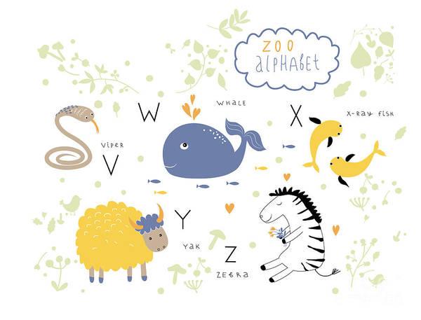 Learn Wall Art - Digital Art - Cute Zoo Alphabet In Vector . V, W, X by Lera Efremova