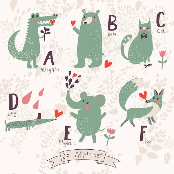 Wildlife Digital Art - Cute Zoo Alphabet In Vector. A, B, C by Smilewithjul