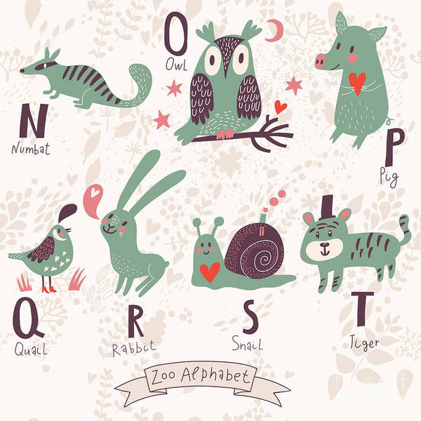 Wall Art - Digital Art - Cute Zoo Alphabet In Vector. N, O, P by Smilewithjul