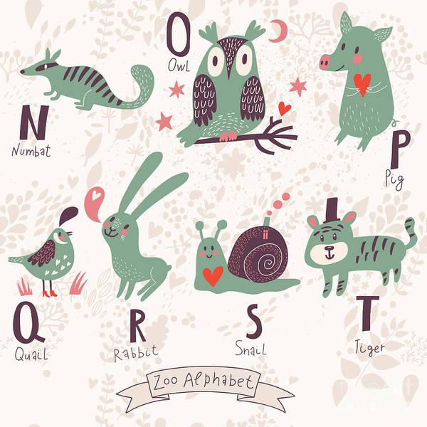 Wildlife Digital Art - Cute Zoo Alphabet In Vector. N, O, P by Smilewithjul