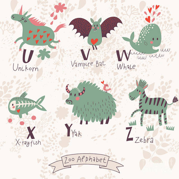 Wall Art - Digital Art - Cute Zoo Alphabet In Vector. U, V, W by Smilewithjul