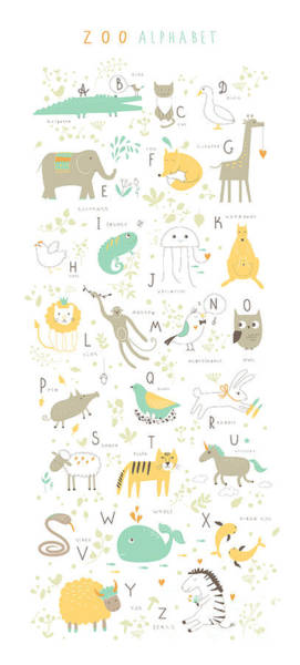 Wall Art - Digital Art - Cute Zoo Alphabet With Funny Animals In by Lera Efremova