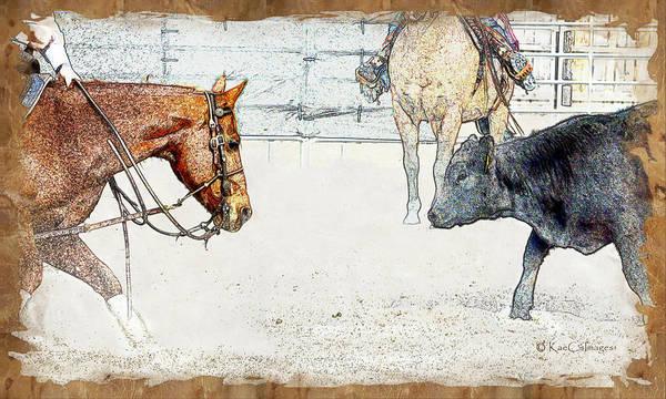 Wall Art - Mixed Media - Cutting Horse At Work by Kae Cheatham