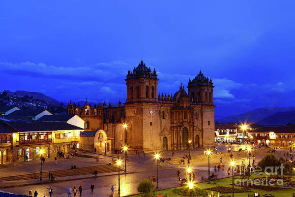 Photograph - Cuzco Cathedral At Blue Hour Peru by James Brunker