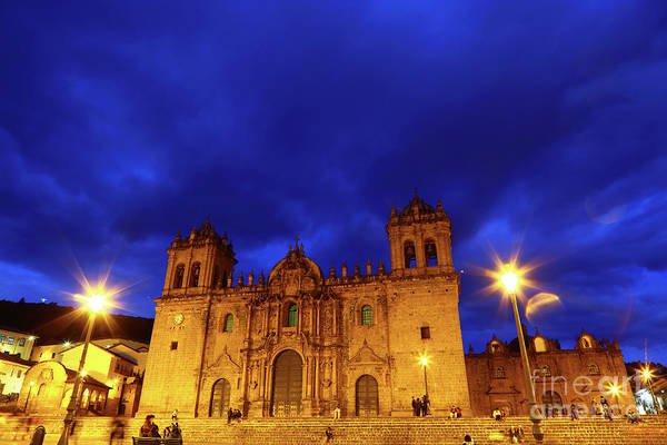 Photograph - Cuzco Cathedral At Twilight Peru by James Brunker