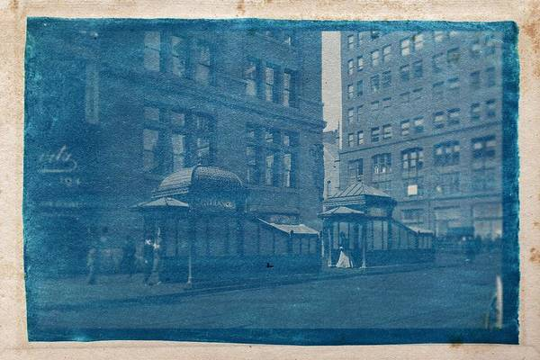 Wall Art - Painting - Cyanotype Photo Of 1905 Subway Entrance And Exit Kiosks At East 23 Street. By Stephen Thompsoon by Celestial Images
