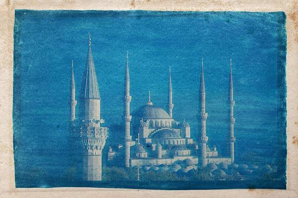 Wall Art - Painting - Cyanotype Photo Of Cathedral Istanbul Country Turkey by Celestial Images