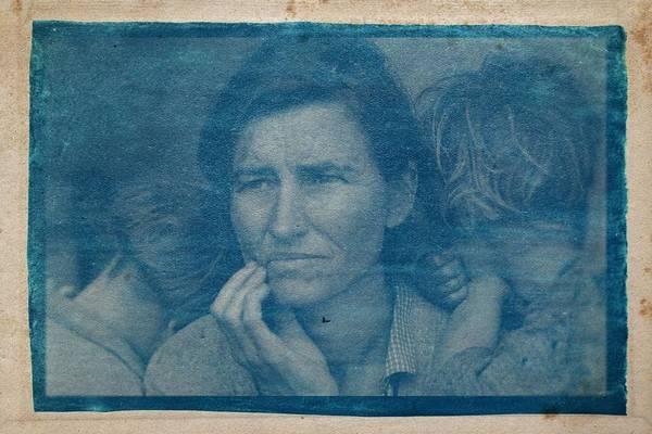 Wall Art - Painting - Cyanotype Photo Of Dorothea Lange, Migrant Mother, 1936 by Celestial Images