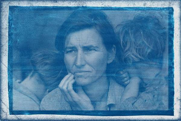 Wall Art - Painting - Cyanotype Photo Of Dorothea Lange, Migrant Mother, 1936 V2 by Celestial Images