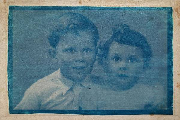 Wall Art - Painting - Cyanotype Photo Of Forgotten Faces - Two Brothers by Celestial Images