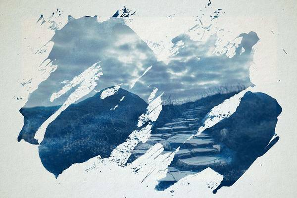Wall Art - Painting - Cyanotype Photo Of Ireland National Park Hiking Away Steinweg Stones by Celestial Images