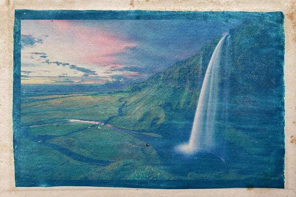 Wall Art - Painting - Cyanotype Photo Of Seljalandsfoss Waterfall Iceland Falls by Celestial Images