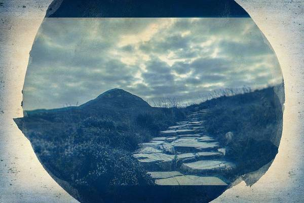 Wall Art - Painting - Cyanotype Photo Of The Pathway To The Hill by Celestial Images