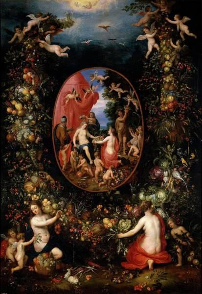 Rhea Painting - 'cybele And The Seasons In A Garland Of Fruit', Befo... by Jan Brueghel the Elder -1568-1625- Hendrik van Balen -1575-1632-