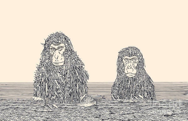 Wall Art - Digital Art - Cyborg Monkey Meditation.two Monkeys In by Ryger
