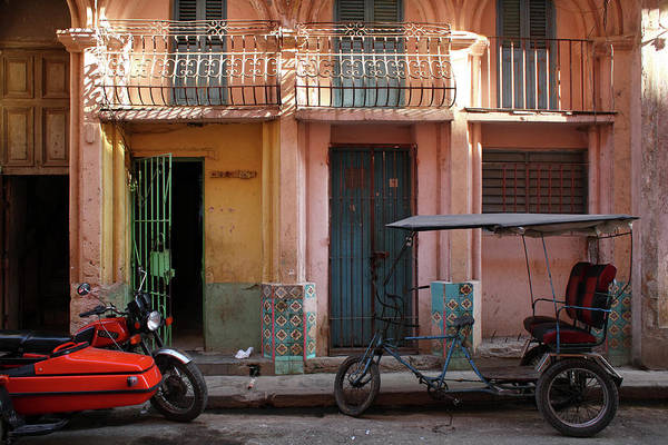 Greater Antilles Photograph - Cycle Taxi And Motorcycle With Sidecar by Alex Craig
