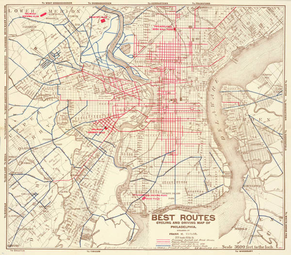 Mixed Media - Cyclers' And Drivers' Best Routes In And Around Philadelphia by Frank H Taylor