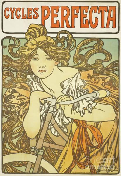 Alphonse Mucha Painting - Cycles Perfecta, 1897 by Alphonse Marie Mucha