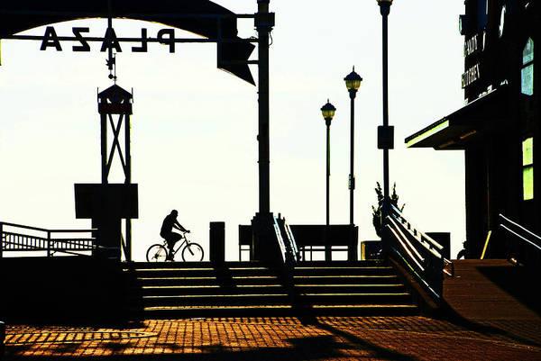 Photograph - Cyclist At Sunrise, Ocean City Boardwalk by Bill Jonscher
