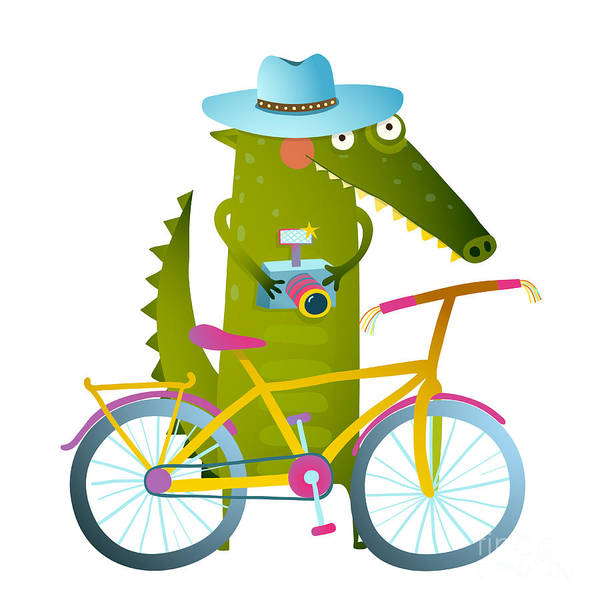 Wall Art - Digital Art - Cyclist Crocodile Tourist With Blue by Popmarleo