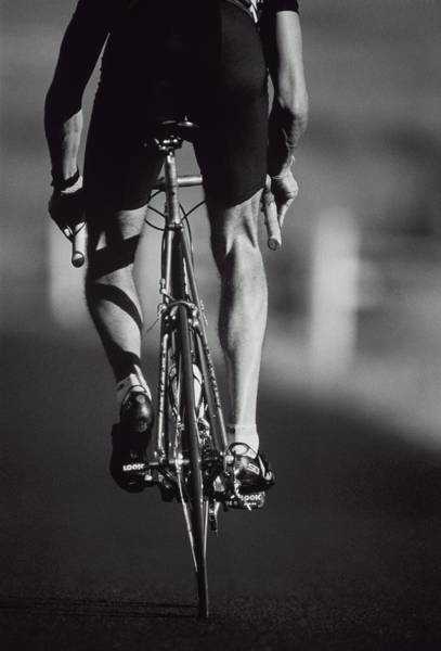 Aspen Photograph - Cyclist On Road, Rear View B&w by Brian Bailey