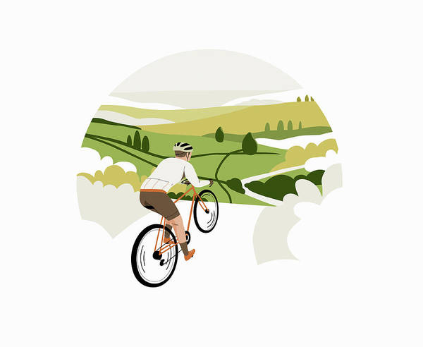 Wall Art - Photograph - Cyclist Riding Bike Through Countryside by Ikon Images