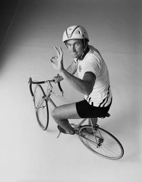 Helmet Photograph - Cyclist Sitting On Bicycle Giving Ok by Tom Kelley Archive