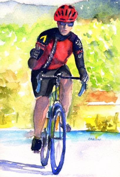 Bicyclist Wall Art - Painting - Cyclist Thumbs-up Ride by Carlin Blahnik CarlinArtWatercolor