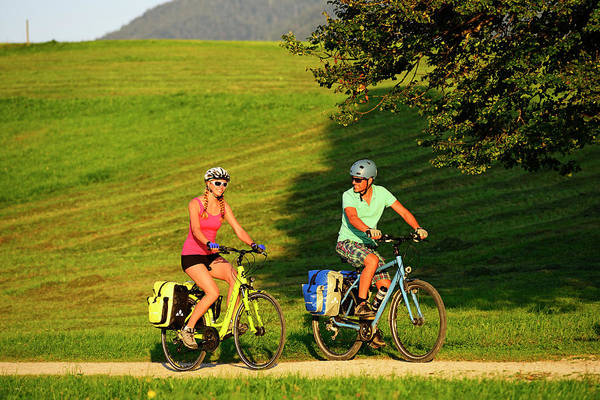 Wall Art - Photograph - Cyclists On The Mozart Cycle Route Chiemgau Upper Bavaria Germany by imageBROKER - Norbert Eisele-Hein