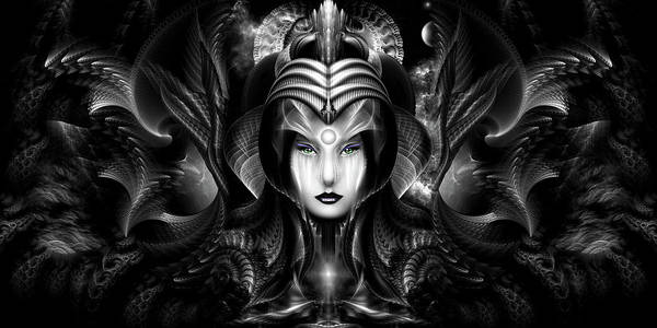 Digital Art - Cyiria Queen Of The Dark Realm Fractal Portrait by Xzendor7