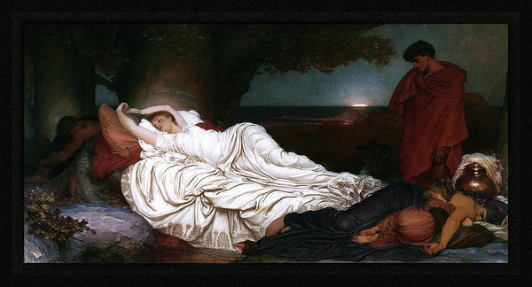 Painting - Cymon And Iphigenia By Lord Frederic Leighton by Xzendor7