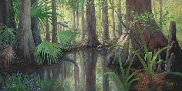 Lake Okeechobee Wall Art - Painting - Cypress Swamp by Laurie Snow Hein