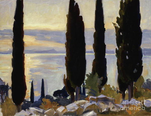 Wall Art - Painting - Cypress Trees At San Vigilio, 1913  by John Singer Sargent